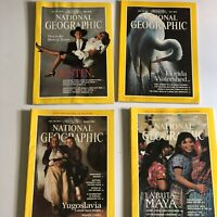 Vintage Lot of 4 National Geographic magazines Oct 1989 June July August 1990