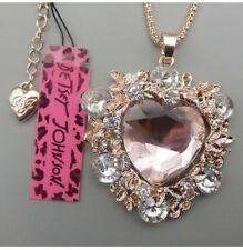 Lovely Betsey Johnson Huge Pink Rose Crystal Gold Heart Pendant Necklace New WT