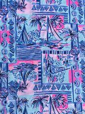"Lilly Pulitzer Pima Cotton Fabric Print Whisper Blue Yeah Buoy 1 yard(36"" x 62"")"