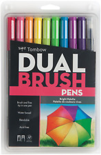 Tombow ABT Dual Brush Pens Art Markers - Brush and Fine Tip - Set of 10 - Bright