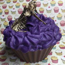 9oz Jumbo Skeleton Cupcake, Dessert Candle Soy Wax Chocolate/pomegranate