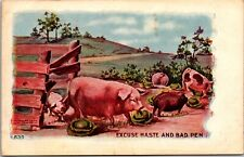 Old Postcard 1910s Pigs Excuse Haste and Bad Pen H H Tammen Pigs Escaping B12