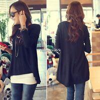 Korean Women's Lady Long Sleeve Loose Irregular Hem Blouse Tops T-shirt N4U8