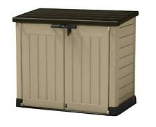 Garden Tool Store Outdoor Plastic Beige & Brown Shed Secure Bike Toy Storage New