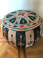 Egyptian Bedouin footstool Pouf Moroccan quilted camel leather Handmade Big