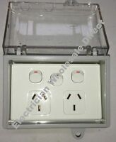 Weather proof Double Power Point + SWITCH + WATER Enclosure Lock Clear Lid GPO
