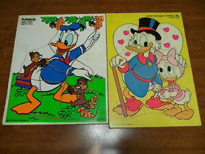 Vintage Disney Uncle Scrooge Webby & Donald Duck Wooden Puzzles Golden Lot of 2