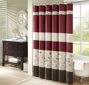 Modern Faux Silk Shower Curtain Embroidered Floral Washable 72x84, Red