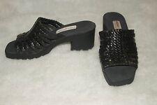 ETIENNE AIGNER Easentials ~ Black Leather Strappy Slides Sz 6.5M *EXCELLENT COND