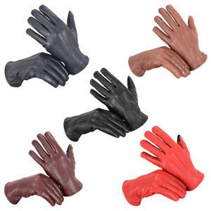 REAL LEATHER Ladies Designer Fashion Touchscreen Gloves Womens Fleece Ladys NEW