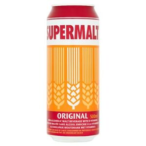 24 x Supermalt Cans 500ml Non Alcoholic Malt Drink FREE TRACKED DELIVERY