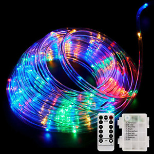 40Ft 120 LEDs Rope Lights String Lights Battery Operated 8 Modes Fairy Lights