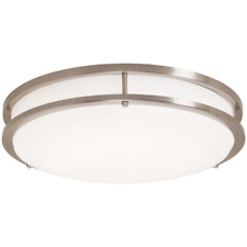 LED Ceiling Light, Round Flush Mount Brushed Nickel, White Diffuser, 16 Inches