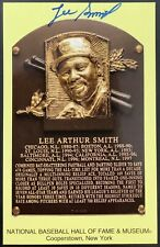 Lee Smith Signed Gold HOF Plaque Postcard Yellow Autograph Chicago Cubs HOF JSA