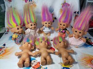 "Vintage Troll Doll Bright Of America Earring Lot of 8 Rainbow Hair 5"""