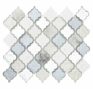 Classic 2X2 Arabesque White Gray Silver Metallic Glossy Glass Mosaic MTO0519