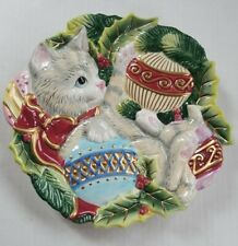 Fitz & Floyd Essentials Cat & Ornaments Christmas Collector's Plate - 9in Across
