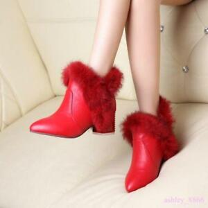 Women's Furry Block Heels Ankle Boots fleece  Lined  POM POM Pointed Toe shoes