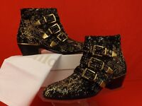 NIB CHLOE SUSANNA BLACK VELVET GOLD STUDS BUCKLES MOTORCYCLE ANKLE BOOTS 39 9