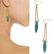 Natural Turquoise Drop/Dangle Hook Earrings Women Fashion Gold Plated Jewelry