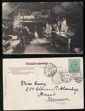ISLE of MAN 1904 PPC to BELGIUM OLD PETES COTTAGE RAMSEY CASTLETOWN DUPLEX + TPO