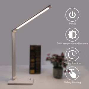 LED Desk Lamp Touch Control USB Chargeable Reading Eye Protect Night Light BLO