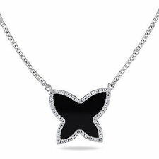 Amour 10k White Gold Black Onyx and Cubic Zirconia Butterfly Necklace 18""