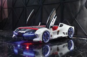 Child /Kids Police Race Car bed Leather seat with Music LED Light Scissor Door