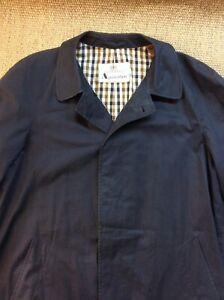 AQUASCUTUM Medium 40 Regular Blue Mac Raincoat Overcoat Coat Lightweight VGC