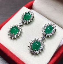 COLOMBIAN! 3.69TCW Emerald & F/VS Diamonds 18K solid white gold Natural Cabochon