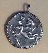 "STERLING SILVER PENDANT, AQUARIUS, ASTROLOGICAL SIGN, HOROSCOPE, 1 1/2"", C. BRAM"