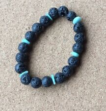 Lava Rock & Amazonite Stretchy Bracelet  6.5-7inches- Reduced