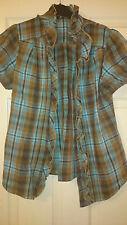 Womens blue cotton casual ruffle check shirt size M
