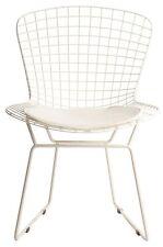 Sedia Bertoia struttura laccata bianca total white cuscino bianco wire chair