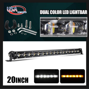 """20"""" White Amber Ultra Slim Dual Color Changing Osram LED Light Bar Offroad 4WD"""