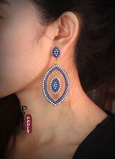Orecchini`Orecchie A perno Etnico Ovale Blu Pallido Navy Mini Perla Vintage