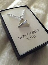 Custom Necklace - Paper Airplane Dont Forget to Fly Graduation Gift for Her Him