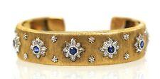 "M. BUCCELLATI 18K YELLOW GOLD BRACELET 9 ROUND BLUE SAPPHIRES 1.64 CARATS 7"""