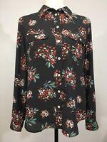 Women's ANN TAYLOR Loft Small Long Sleeve Top Blouse Gray Floral