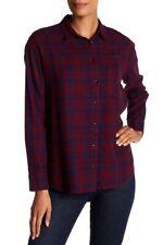NEW Madewell Women's Plaid Flannel Ex Boyfriend Shirt, Burmese Blue, Oversized M