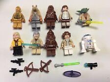 LEGO lot of 10 Star Wars Good Guy Minifigs Yoda Luke Leia Han R2-D2 Chewie N461M