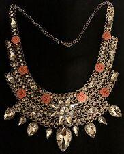 Ancho De Cristal De Oro Antiguo Gargantilla Pechera Collar Distintivo Rosa Estilo Celebridad