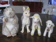 4 Alte Steiff Tiere, Lama, Schaf, Lamm und Murmeltier
