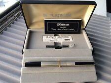 NEW PLATINUM Stainless Armor Fountain Pen 14K White Gold Medium Nib w/Converter
