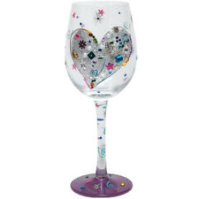 New listing Lolita Love My Wine Silver Lining Multi-Color Hand Painted Wine Glass
