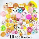 10 PCS Random Kawaii Squishies Bun Toast Donut Bread Charm Cat Squishy Straps
