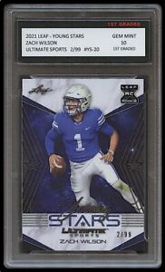 ZACH WILSON 2021 / '21 LEAF YOUNG STARS /99 1ST GRADED 10 ROOKIE CARD RC NY JETS