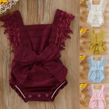 Newborn Kids Baby Girl Sleeveless Solid Lace Bow Romper Bodysuit Clothes Outfits
