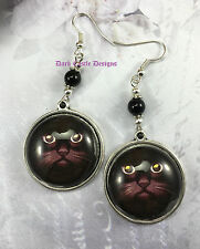 Pair of  Black Cat Face Glass Cabochon/ Cameo Earrings Pagan Cult Goth wicca