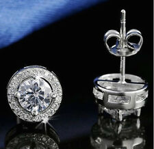 WHITE GOLD PLATED CZ DIAMONTE ROUND STUD EARRINGS